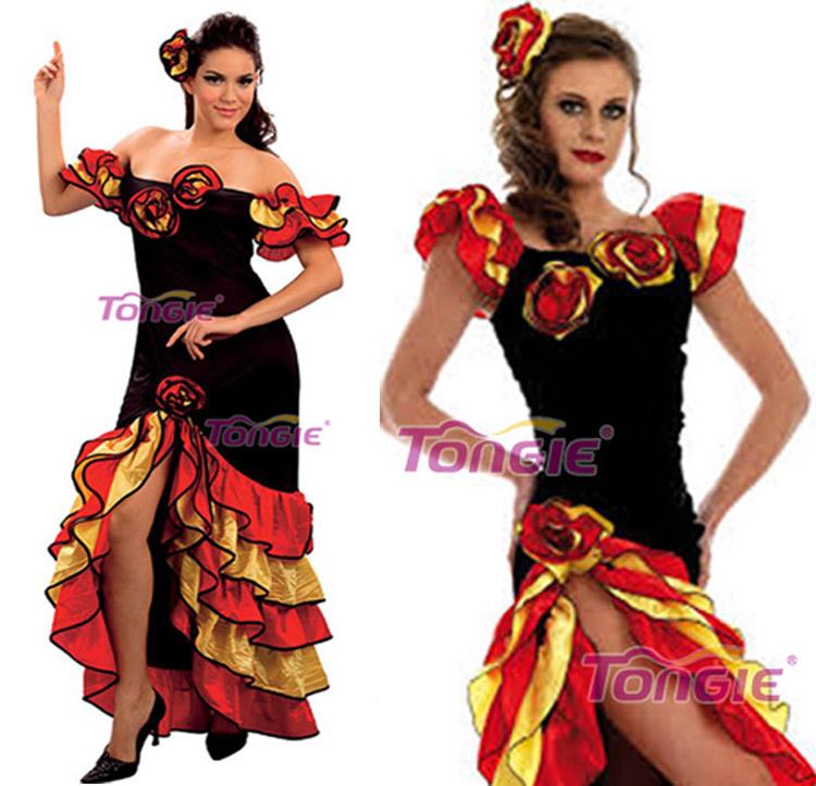 Womens Spanish Flamenco Dancer Salsa Rumba Fancy Dress Costume Outfit