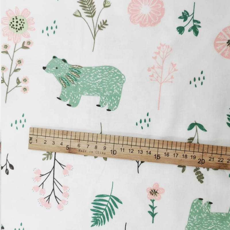 Baby Knitted Fabric 100% Cotton Knitted Print Cartoon Bear Pattern for children's bed linen