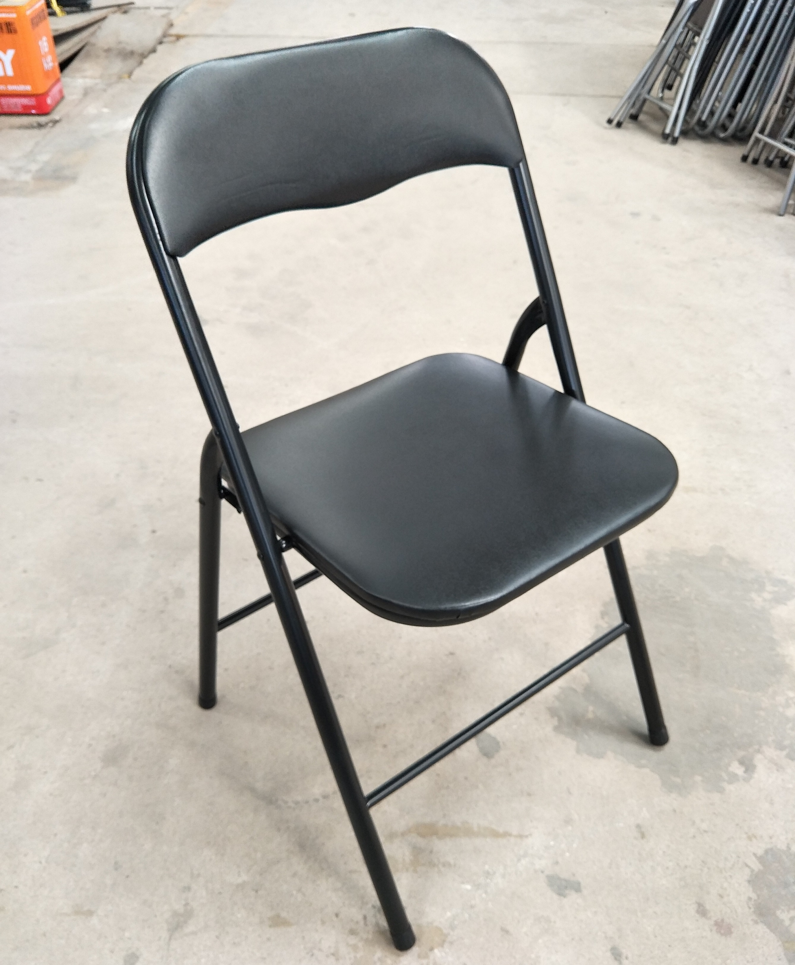 Steel Tube Folding Chair With Pvc And Foam Padded Seat Buy Steel Tube Folding Chair Metal Frame Folding Chair Pvc Padded Folding Chair Product On Alibaba Com