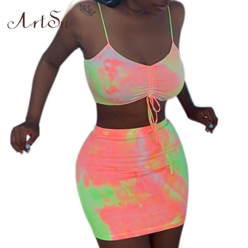 ArtSu неоновое Радужное облегающее платье, комплект из двух предметов, женский укороченный топ с галстуком, мини юбка, Femme, комплект из 2 предме...(Китай)