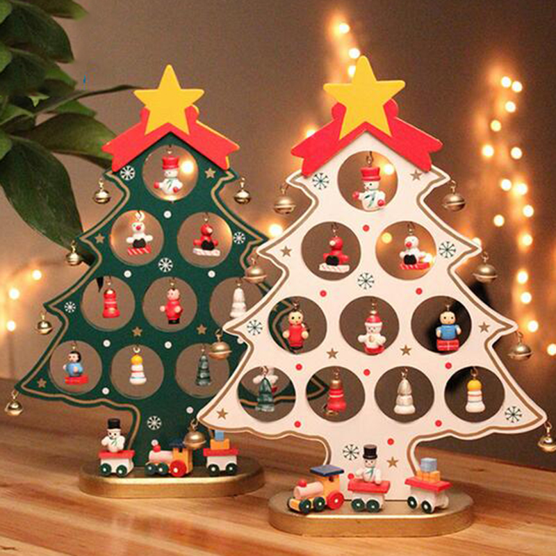 2016 Cartoon Wooden Crafts Christmas Tree Ornament Table