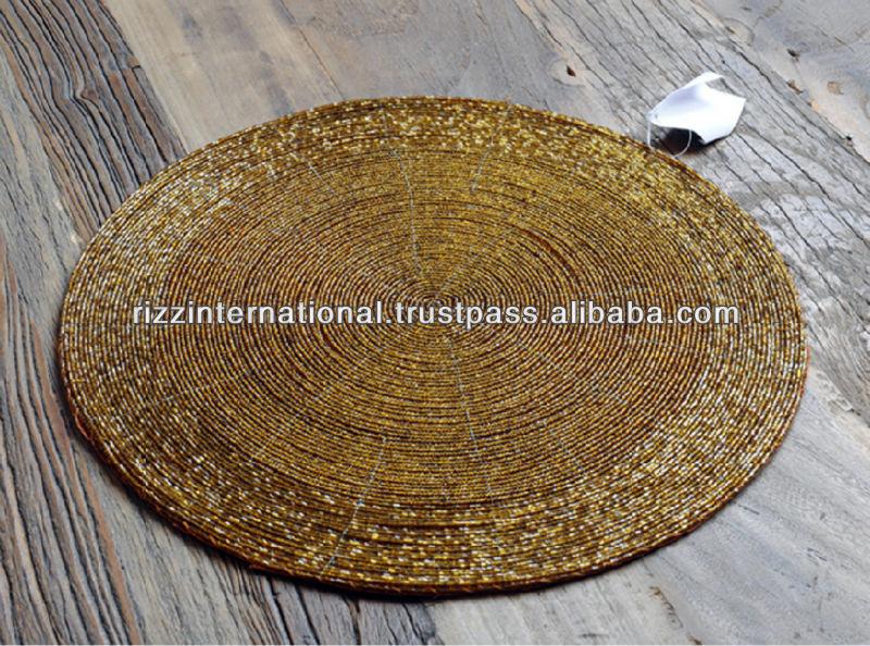 Gold Handmade Beaded Placemat Buy Beaded Placemats Beaded Placemats Round Quilted Placemats Product On Alibaba Com