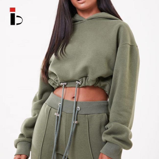 Fitness apparel Hot Sale crop Cotton Fleece Womens Hoodies With Drawstring