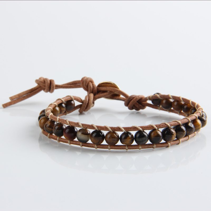 Jinse Men Women 1 Layer Natural Stone Bead Bracelets Bangles Leather Beaded Bracelet With Real Cord