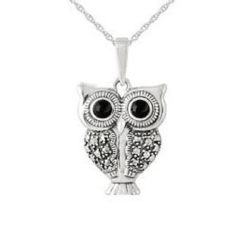 925 sterling silver owl animal pendant