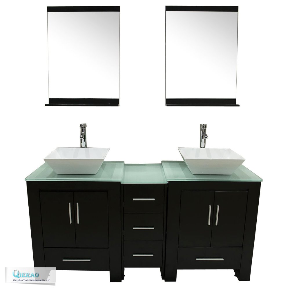 Double Sink Commercial Bathroom Vanity With Glass Top Buy Product On Alibaba Com