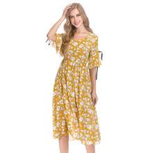 99b337bb48b9 Plus Size Women Summer Dress 2019 New Yellow Floral Print Chiffon Dresses  Ladies Boho Casual Bohemian