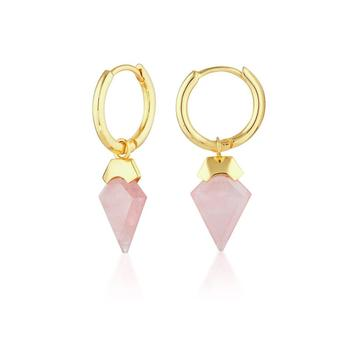 Inspire Jewelry silver pink quartz rose chalcedony gemstone handmade design gold plated stud earrings for women and girls design