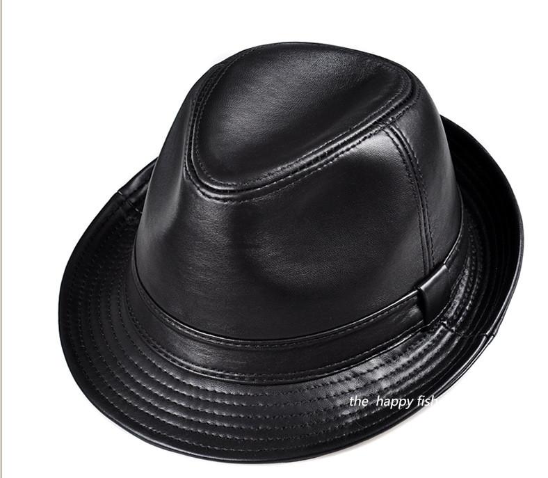 ... men fedora Trilby hat Black Leather Fedora Hat for men chapeau homme  vintage jazz hats for ... e5aa2298e12