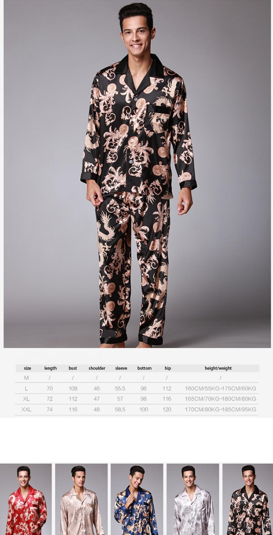 53eaae18ee Men's Stylish Pajama Set Pajamas Sleepwear Long Sleeves Shirt + ...