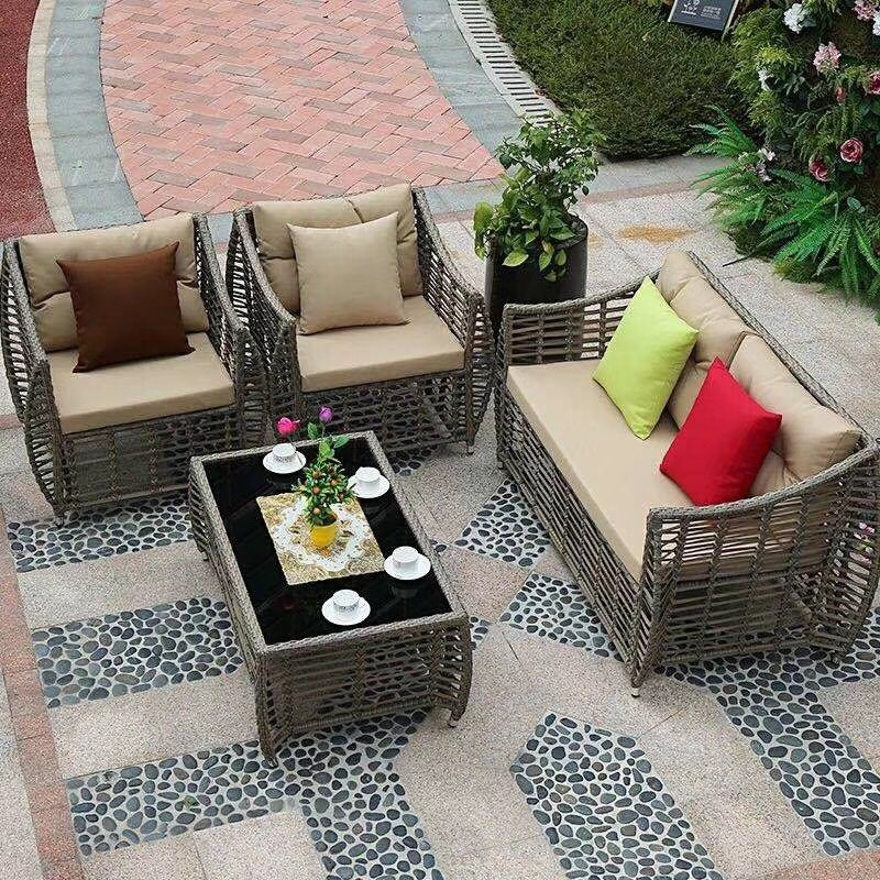 Оптовая продажа, набор плетеных диванов из ротанга для внутреннего дворика, мебель для улицы