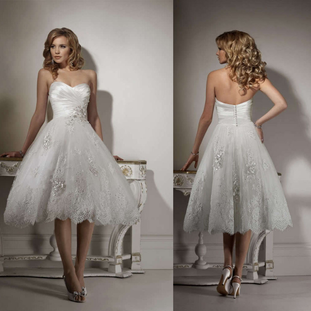 Fabulous Strapless Sweetheart Lace Short Mid Calf Wedding