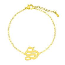 Старый Английский начальный P браслет женский браслет минималистичный нержавеющая сталь Capital Алфавит шрифт буквы 26 A-Z браслет подарок на де...(Китай)