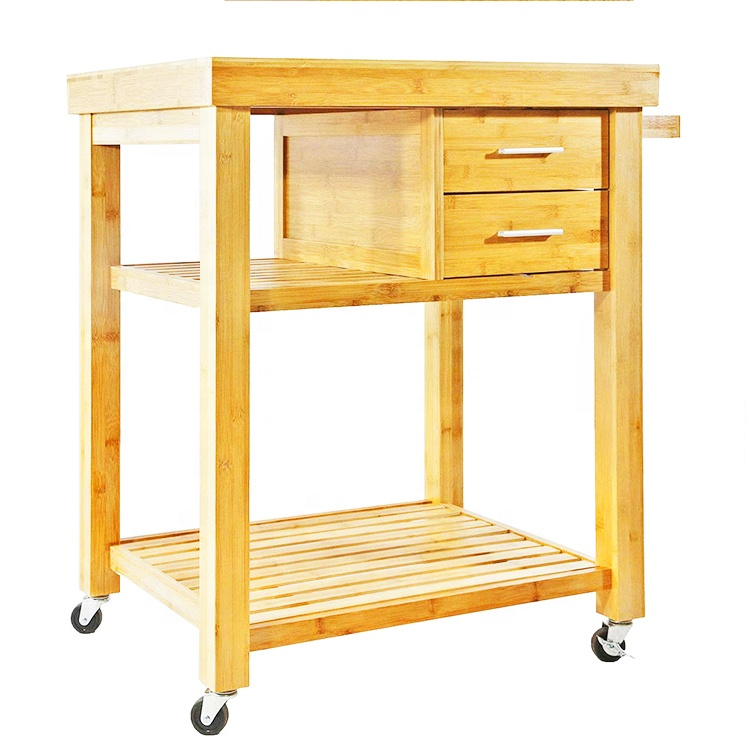 Natural Bamboo Rolling Kitchen Island Cart On Wheels With 2 Drawers And Storage Shelves Towel Rack Dining Room Trolley Carts Buy Dining Room Trolley Carts Natural Bamboo Rolling Kitchen Island Cart Rolling Kitchen Island Cart