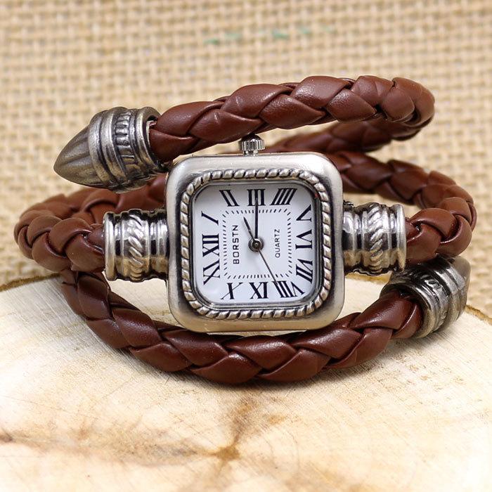 Мода римскими цифрами кожаный ремешок наручные женщины часы браслет часы