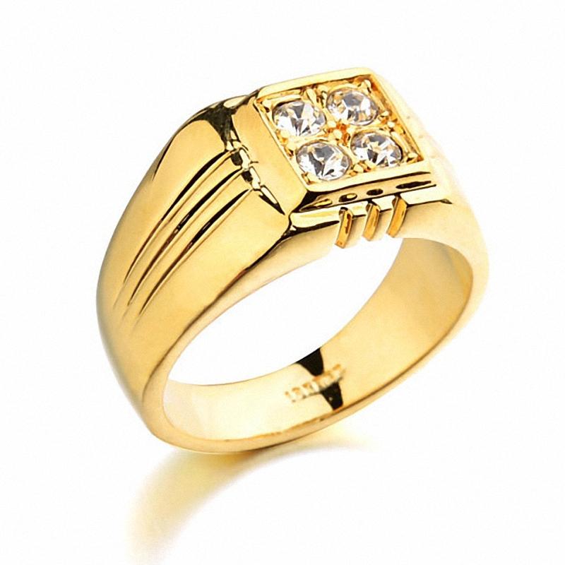 Real Italina Rings for men Genuine Austria Crystal 18K