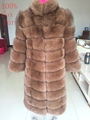 100 Real fur coat 2016 fox fur fashion 100 cm length coat the beauty of the