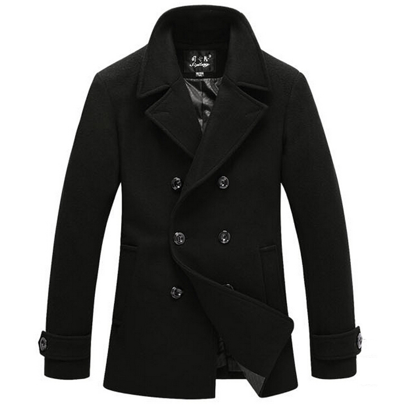 Versatile, comfortable, stylish men's pea coats look great with a suit or a T-shirt and jeans. Pea coats are closely fitted, and they have a double row of large buttons and double-breasted construction for a fashionable, put together look.