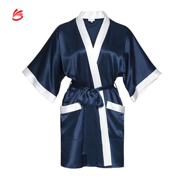 Sexy Vintage Inspired Nightgowns Japanese Yukata 3/4 Sleeve Kimono Self Tie Wrap Satin Robe
