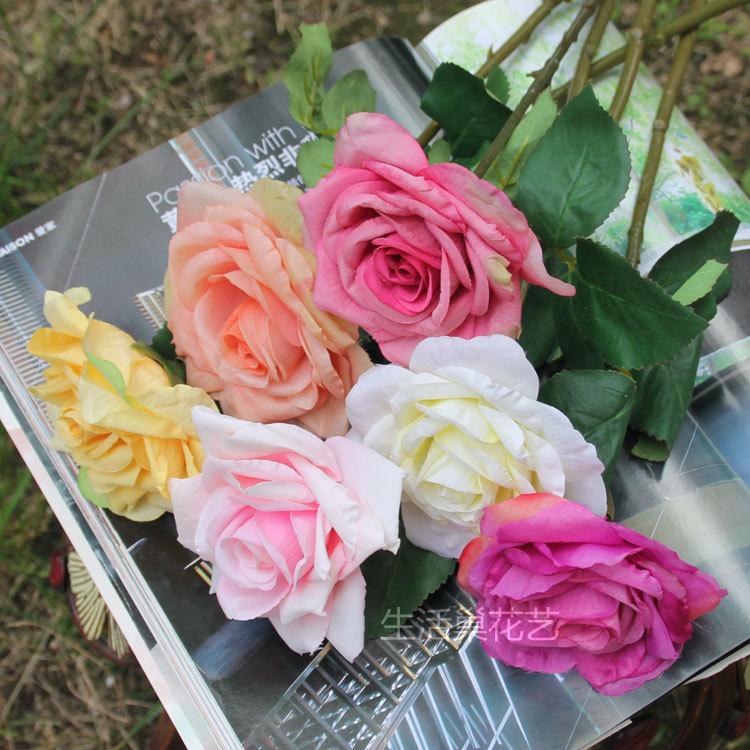 Cheap Silk Flower Bouquets For Weddings: 5 Color Wholesale 1 Bouquet Cheap Fake Rose Flower
