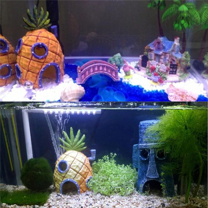 Fish Tank Aquarium Decor For Spongebob Squidward House Pineapple Cartoon House Home Ornaments Aquarium Accessories