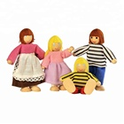 Doll Family,6pcs Happy Family Series Pretend Play Wooden Happy Family Dolls Toys
