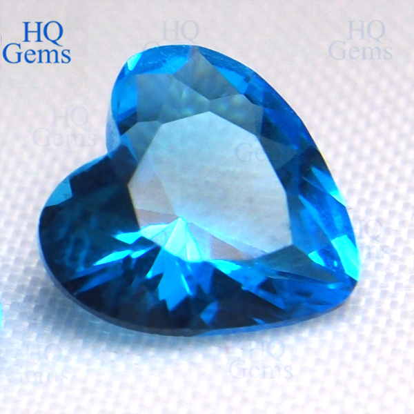 Hq Crystal Glass Cigar Ashtray Heart Diamond Cut Blue Gems