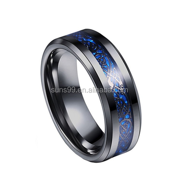 Stainless Steel 8mm Blue Black Dragon Pattern Beveled Edges Celtic Rings Jewelry Wedding Band For Men