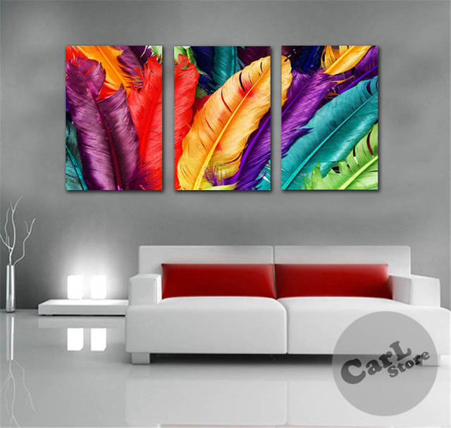 3Panels Free Shipping Fresh Look Color Feather Modern Wall
