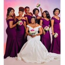 6fa22c3b54d3 Elegant Purple Satin Bridesmaid Dresses For Wedding Party Long 2018 African  Plus Size Off Shoulder Mermaid