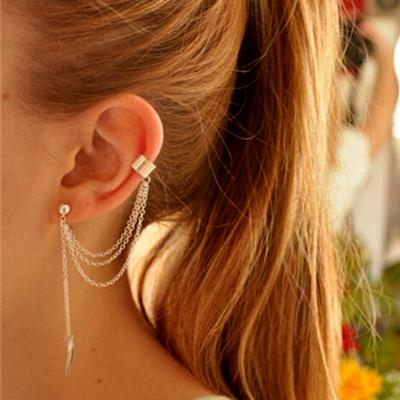 Women Stylish Punk Leaf Chain Tassel Dangle Clip Ear Cuff