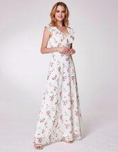 Женское платье подружки невесты Ever Pretty EP07242, длинное пляжное платье из шифона с принтом, а-силуэта, платье для свадебной вечеринки, 2020(Китай)