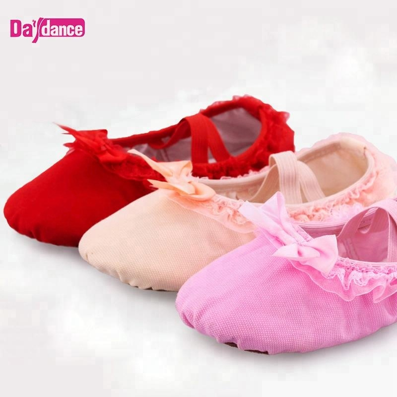 Infant Girls Lace Dance Slippers Soft Ballet Shoes