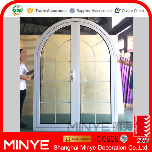 modern design top round aluminum entry doors with curved design
