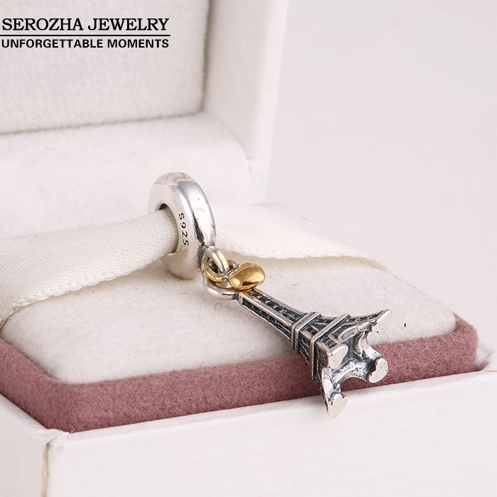 9cad42774 ... Authentic 925 Sterling Silver Eiffel Tower Charms Fit Bracelets Dangle 14K  Gold Plated Heart Charm Pendant