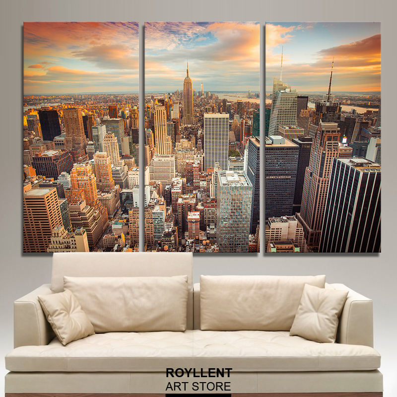 Large Framed Wall Art New York City Landscape Sunset: New York City Picture Canvas Painting Modern Wall Art