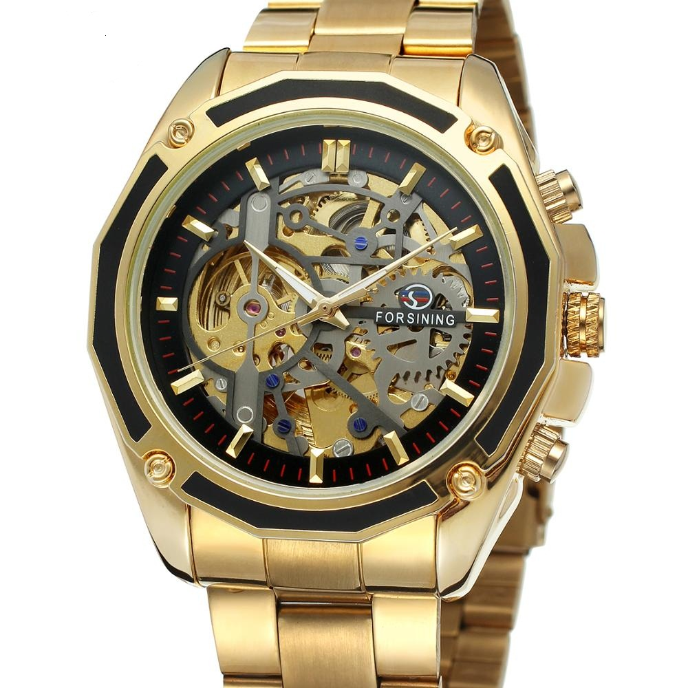 Forsining Watch Steampunk Design Fashion Business Dress Men Watch Top Brand Luxury Stainless Steel Automatic Skeleton Watch