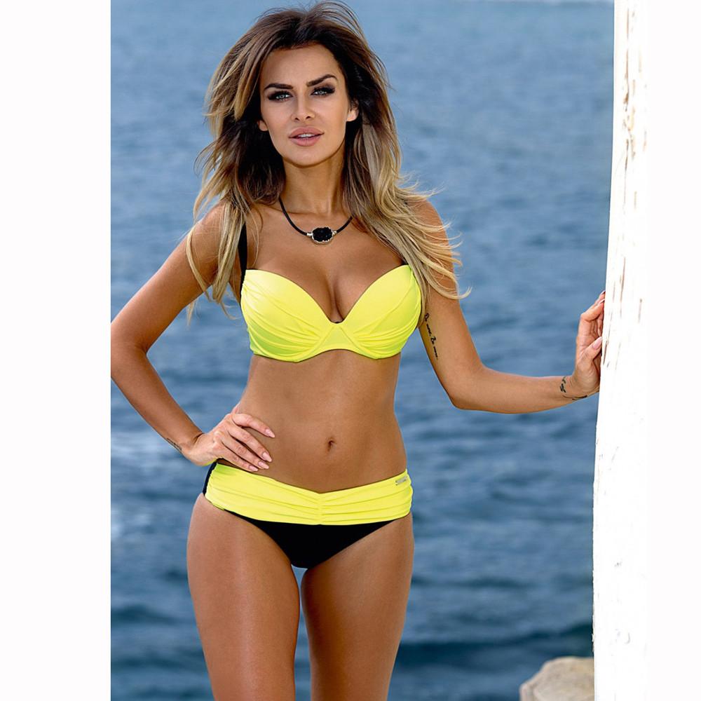 ec22de71a Compre Amarelo Biquíni Mid Cintura Push Up Sutiã Acolchoado Piscina ...