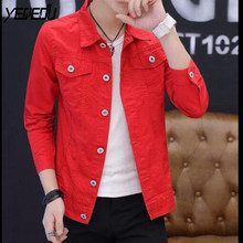 Buy Mens Red Denim Jacket And Get Free Shipping On Aliexpress Com