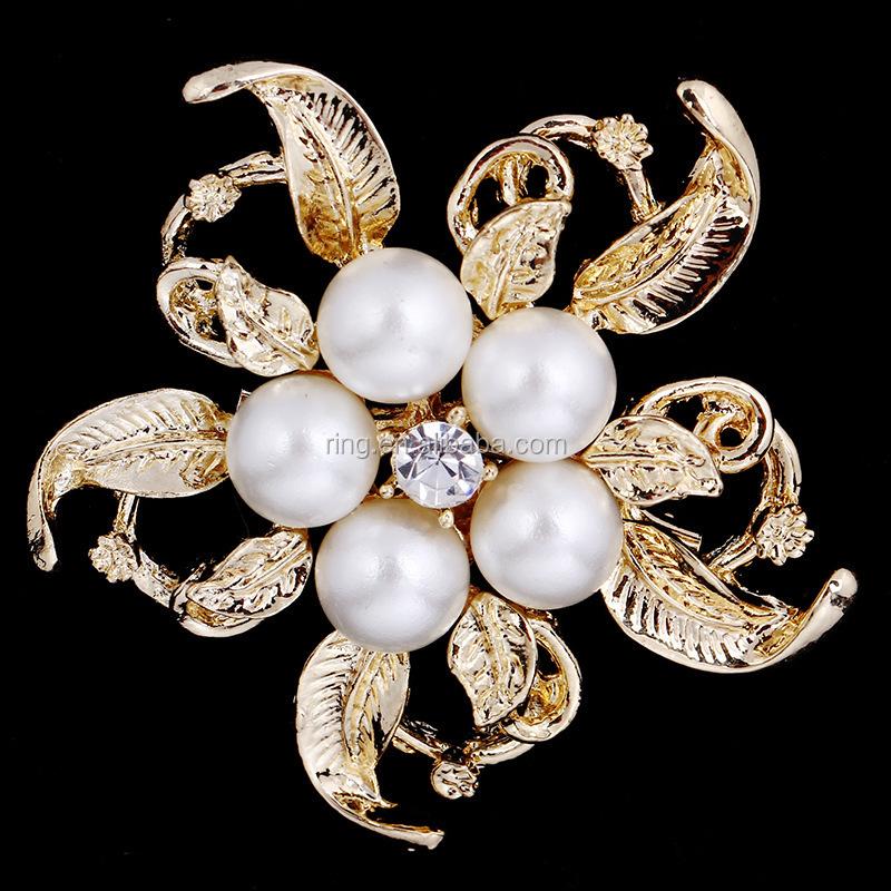 Crystal Rhinestone Flower Pearl Brooch Brooches SILVER