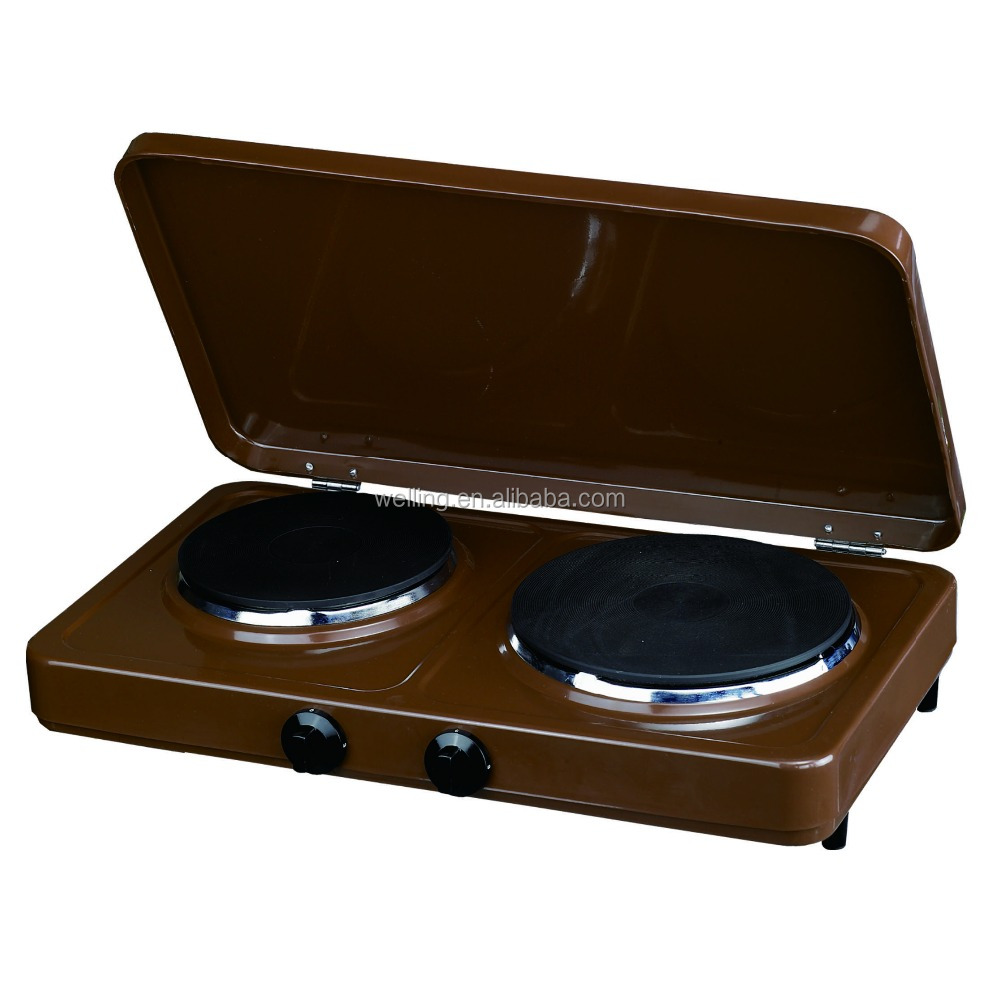 With lid 2 Burner Electric Hotplate 2 Burner Electric cooktop Heating Stove Electric Hot Plate Cooker
