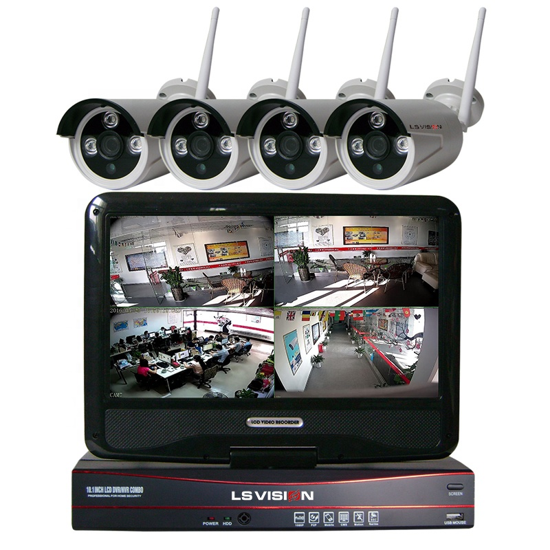 LS VISION 1.3MP 960P Motion Detection Alarm Wireless NVR System 4CH Cctv Bullet IP Camera Kit with 10 Inch Rotation LCD Monitor