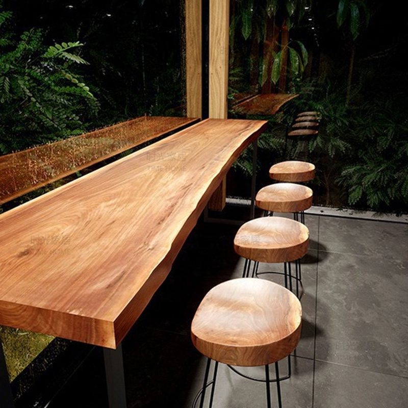 restaurant furniture bar table live edge dining table customized design wood top and metal leg