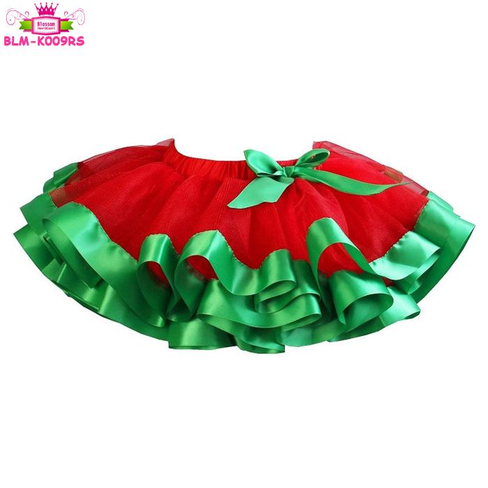 Christmas tutu Green ribbon tutu skirt Green and White Ribbon Trimmed Tutu