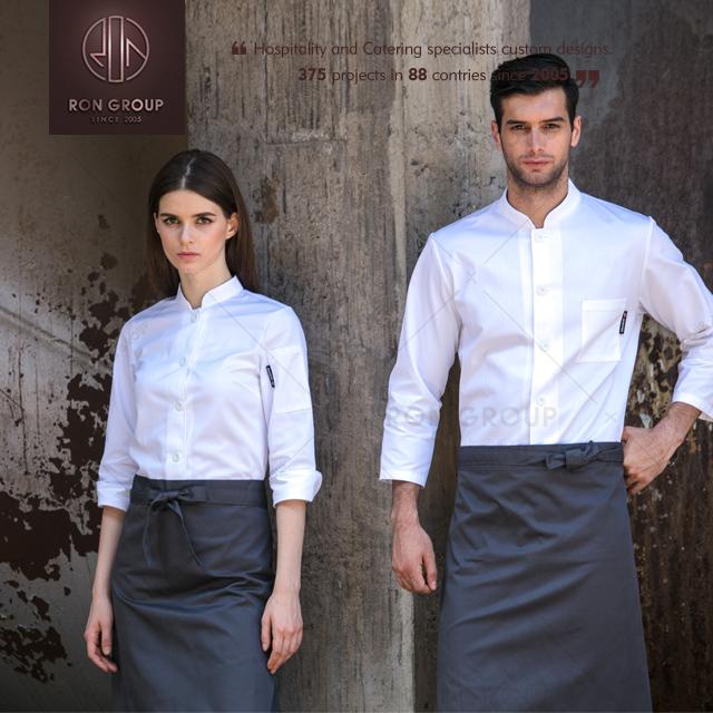 Long and Short Sleeve Restaurant Chef Kitchen Uniform Waiter Uniform Fabric Designs Chef Uniform