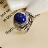 adjustable 925 silver natural lapis ring