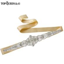 Женский ремень со стразами TOPQUEEN, ручной работы, с поясом для свадебного платья, с кристаллами, для формального платья S349(China)