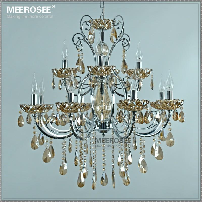 Modern wrought iron chandelier k9 crystal lustre Fancy glass suspension light for Living room Dining room MD5359 L12 chandelier