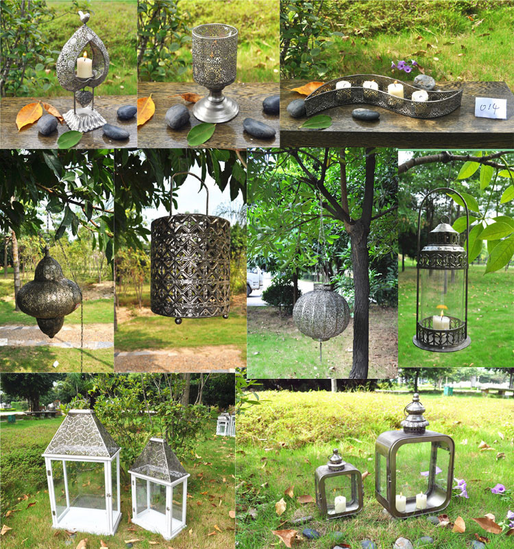 Simple Hanging Metal Joining Glass Cemetery Candle Lantern