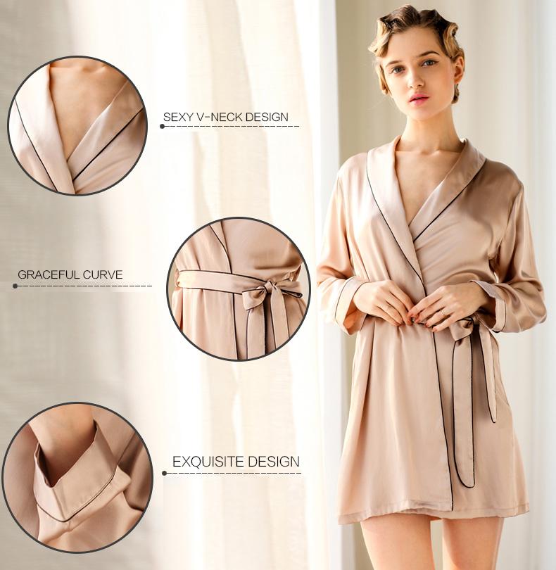 68b9464fb8 2019 Wholesale Women S 100% Pure Mulberry Silk Robe Luxury Pajama ...